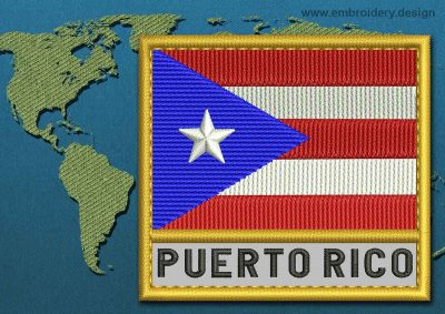 This Flag of Puerto Rico Text with a Gold border design was digitized and embroidered by www.embroidery.design.
