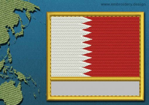 This Flag of Qatar Customizable Text  with a Gold border design was digitized and embroidered by www.embroidery.design.