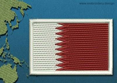 This Flag of Qatar Mini with a Colour Coded border design was digitized and embroidered by www.embroidery.design.