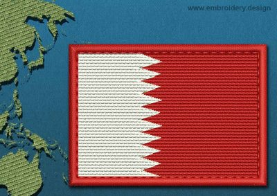 This Flag of Qatar Rectangle with a Colour Coded border design was digitized and embroidered by www.embroidery.design.