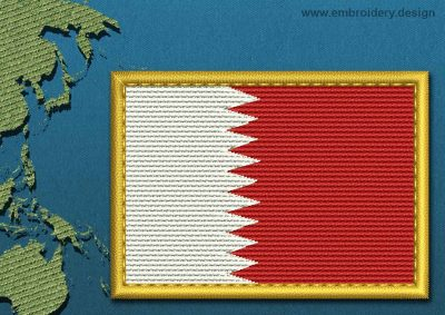 This Flag of Qatar Rectangle with a Gold border design was digitized and embroidered by www.embroidery.design.