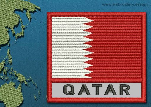 This Flag of Qatar Text with a Colour Coded border design was digitized and embroidered by www.embroidery.design.