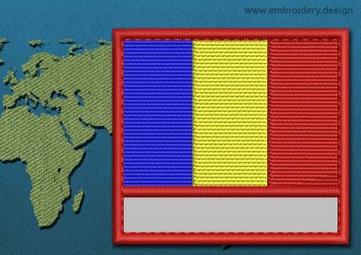 This Flag of Romania Customizable Text  with a Colour Coded border design was digitized and embroidered by www.embroidery.design.