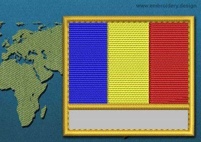 This Flag of Romania Customizable Text  with a Gold border design was digitized and embroidered by www.embroidery.design.
