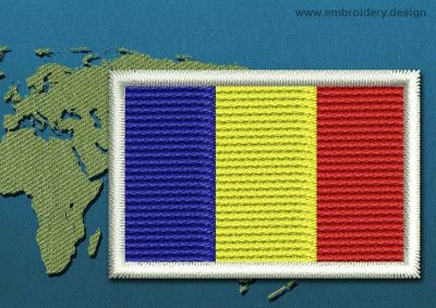 This Flag of Romania Mini with a Colour Coded border design was digitized and embroidered by www.embroidery.design.