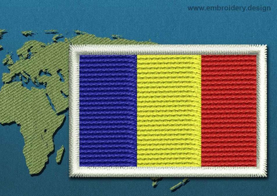 Romania Mini Flag with a Colour Coded Border