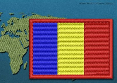This Flag of Romania Rectangle with a Colour Coded border design was digitized and embroidered by www.embroidery.design.