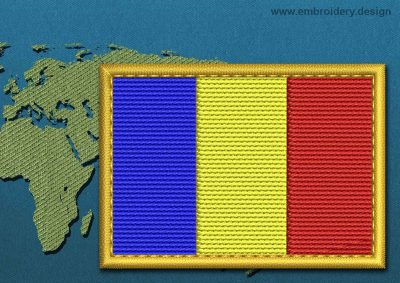 This Flag of Romania Rectangle with a Gold border design was digitized and embroidered by www.embroidery.design.