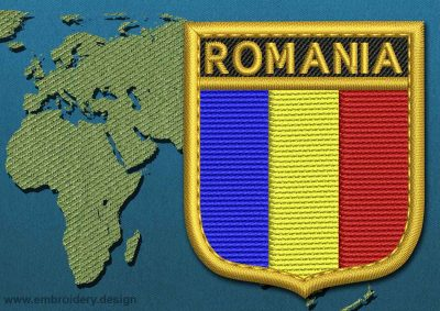 This Flag of Romania Shield with a Gold border design was digitized and embroidered by www.embroidery.design.