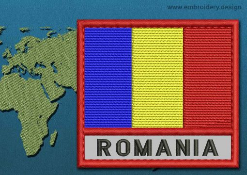 This Flag of Romania Text with a Colour Coded border design was digitized and embroidered by www.embroidery.design.