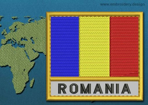This Flag of Romania Text with a Gold border design was digitized and embroidered by www.embroidery.design.