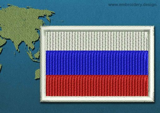 This Flag of Russia Mini with a Colour Coded border design was digitized and embroidered by www.embroidery.design.