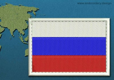 This Flag of Russia Rectangle with a Colour Coded border design was digitized and embroidered by www.embroidery.design.