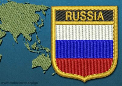 This Flag of Russia Shield with a Gold border design was digitized and embroidered by www.embroidery.design.