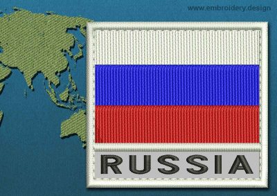 This Flag of Russia Text with a Colour Coded border design was digitized and embroidered by www.embroidery.design.
