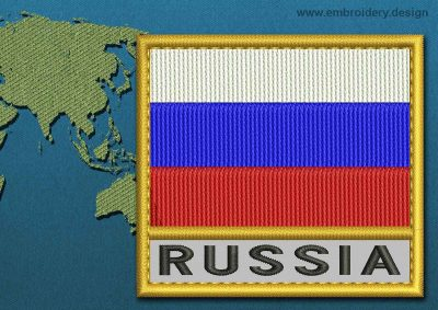 This Flag of Russia Text with a Gold border design was digitized and embroidered by www.embroidery.design.