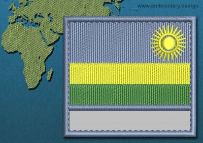 This Flag of Rwanda Customizable Text  with a Colour Coded border design was digitized and embroidered by www.embroidery.design.