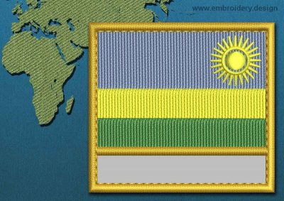 This Flag of Rwanda Customizable Text  with a Gold border design was digitized and embroidered by www.embroidery.design.