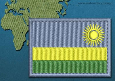 This Flag of Rwanda Rectangle with a Colour Coded border design was digitized and embroidered by www.embroidery.design.
