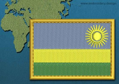 This Flag of Rwanda Rectangle with a Gold border design was digitized and embroidered by www.embroidery.design.