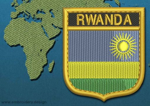 This Flag of Rwanda Shield with a Gold border design was digitized and embroidered by www.embroidery.design.