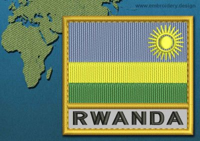 This Flag of Rwanda Text with a Gold border design was digitized and embroidered by www.embroidery.design.