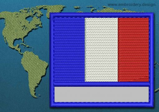 This Flag of Saint Barthelemy Customizable Text  with a Colour Coded border design was digitized and embroidered by www.embroidery.design.