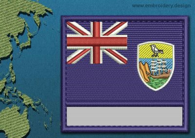 This Flag of Saint Helena, Ascension, and Tristan da Cunha Customizable Text  with a Colour Coded border design was digitized and embroidered by www.embroidery.design.