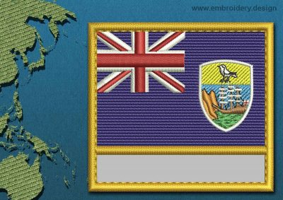 This Flag of Saint Helena, Ascension, and Tristan da Cunha Customizable Text  with a Gold border design was digitized and embroidered by www.embroidery.design.