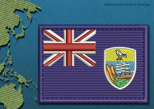 This Flag of Saint Helena, Ascension, and Tristan da Cunha Rectangle with a Colour Coded border design was digitized and embroidered by www.embroidery.design.