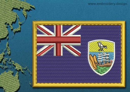 This Flag of Saint Helena, Ascension, and Tristan da Cunha Rectangle with a Gold border design was digitized and embroidered by www.embroidery.design.