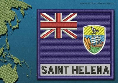 This Flag of Saint Helena, Ascension, and Tristan da Cunha Text with a Colour Coded border design was digitized and embroidered by www.embroidery.design.