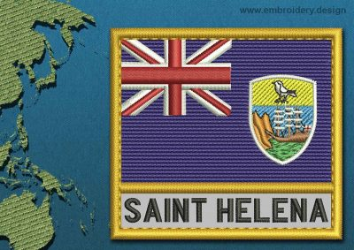 This Flag of Saint Helena, Ascension, and Tristan da Cunha Text with a Gold border design was digitized and embroidered by www.embroidery.design.