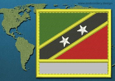 This Flag of Saint Kitts and Nevis Customizable Text  with a Colour Coded border design was digitized and embroidered by www.embroidery.design.