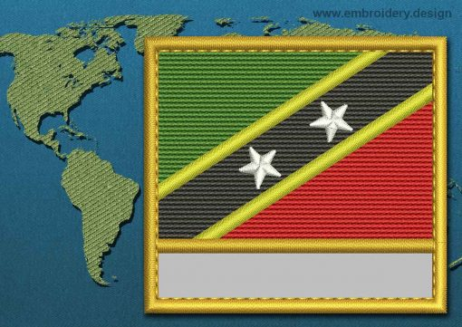 This Flag of Saint Kitts and Nevis Customizable Text  with a Gold border design was digitized and embroidered by www.embroidery.design.