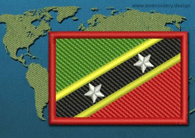This Flag of Saint Kitts and Nevis Mini with a Colour Coded border design was digitized and embroidered by www.embroidery.design.