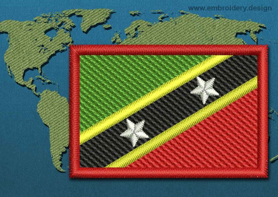 Saint Kitts and Nevis Mini Flag with a Colour Coded Border