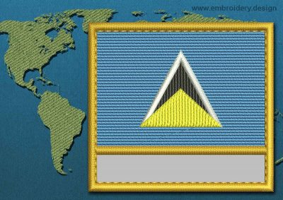This Flag of Saint Lucia Customizable Text  with a Gold border design was digitized and embroidered by www.embroidery.design.