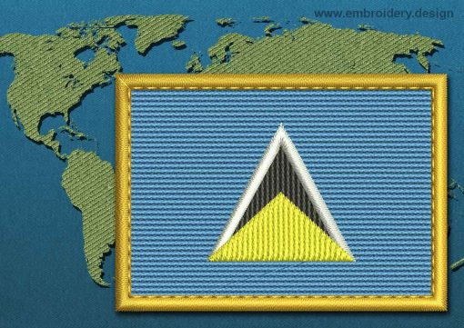 This Flag of Saint Lucia Rectangle with a Gold border design was digitized and embroidered by www.embroidery.design.