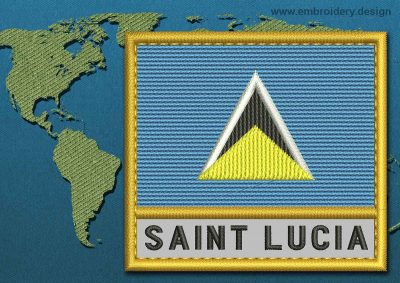 This Flag of Saint Lucia Text with a Gold border design was digitized and embroidered by www.embroidery.design.