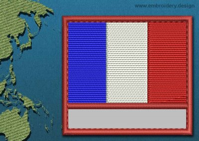 This Flag of Saint Martin Customizable Text  with a Colour Coded border design was digitized and embroidered by www.embroidery.design.