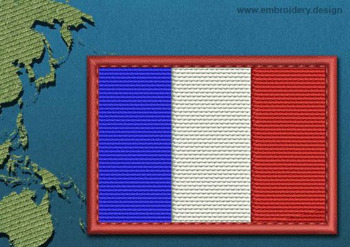 This Flag of Saint Martin Rectangle with a Colour Coded border design was digitized and embroidered by www.embroidery.design.