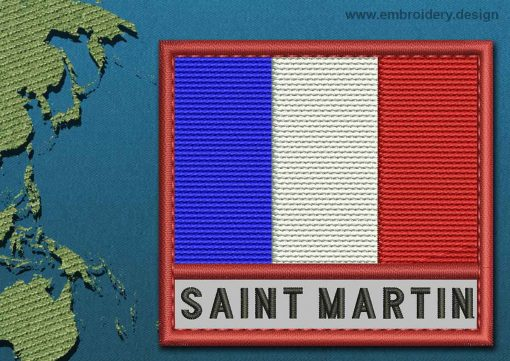 This Flag of Saint Martin Text with a Colour Coded border design was digitized and embroidered by www.embroidery.design.