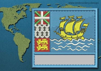 This Flag of Saint Pierre and Miquelon Customizable Text  with a Colour Coded border design was digitized and embroidered by www.embroidery.design.