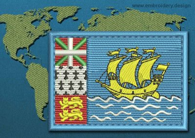 This Flag of Saint Pierre and Miquelon Rectangle with a Colour Coded border design was digitized and embroidered by www.embroidery.design.