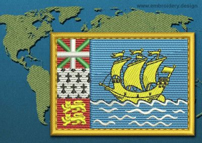 This Flag of Saint Pierre and Miquelon Rectangle with a Gold border design was digitized and embroidered by www.embroidery.design.