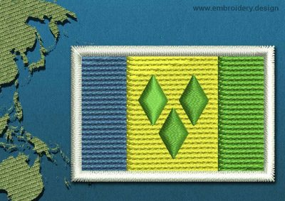 This Flag of Saint Vincent and the Grenadines Mini with a Colour Coded border design was digitized and embroidered by www.embroidery.design.