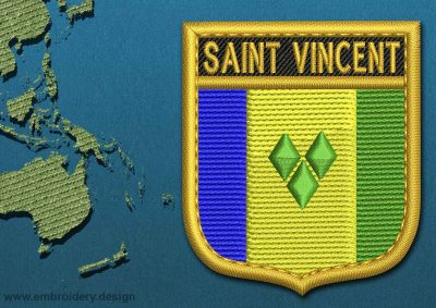 This Flag of Saint Vincent and the Grenadines Shield with a Gold border design was digitized and embroidered by www.embroidery.design.
