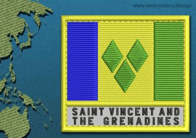 This Flag of Saint Vincent and the Grenadines Text with a Colour Coded border design was digitized and embroidered by www.embroidery.design.