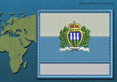 This Flag of San Marino (With Crest) Customizable Text  with a Colour Coded border design was digitized and embroidered by www.embroidery.design.